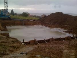Bodenplatte für den Keller gegossen